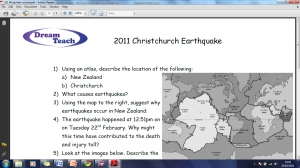 New Zealand earthquake 2011 worksheet image