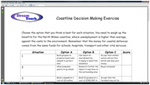 2e) Coasts decision making exercise- pupil worksheet image