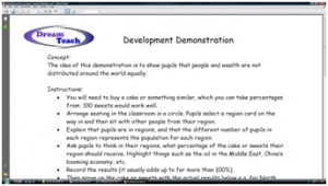 2a) Development demonstration- teacher instructions