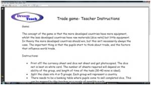2d) Trade game- teacher instructions