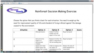 2b) The Amazon rainforest- decision making exercise worksheet image