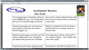 3c) Development mystery- clue cards