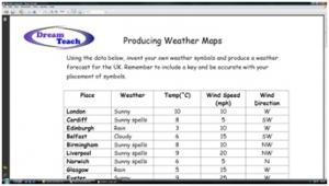 3c) Measuring and forecasting the weather- weather maps worksheet image