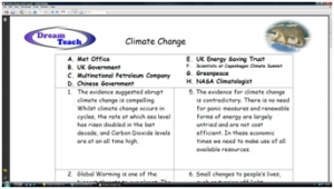 9b) Climate change- match up activity image