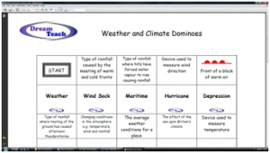 a) Weather and climate change dominoes image