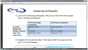3b) Comparing earthquakes- worksheet image