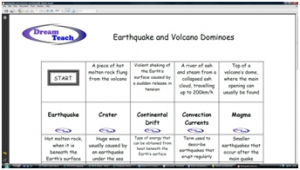 a) Earthquakes and volcanoes dominoes