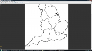 d) Blank England's main regions map