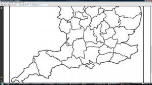 e) Blank England counties map