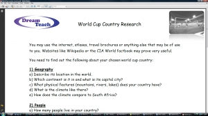 World Cup 2010- country research wosksheet image