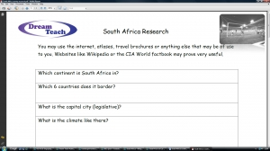 World Cup 2010- South Africa research worksheet image