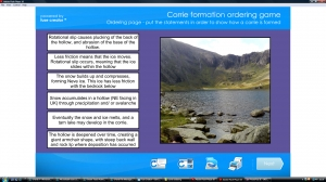 Glacial features- corrie formation ordering game