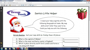 Christmas mapwork worksheet- easier image