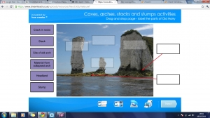 Coastal landforms- caves, arches, stacks and stumps activities