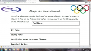 Olympic research worksheet image