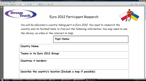 Euro 2012 team research worksheet